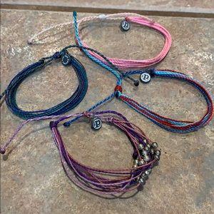 4 Pure vida bracelet lot bundle pink blue purple